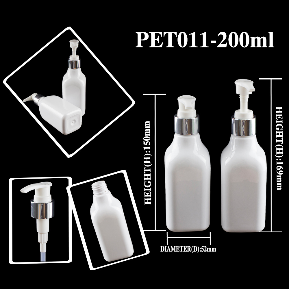 200ml White Pet Body Lotion Pump Bottle Cospack