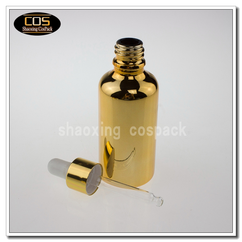 50ml Gold Silver Glass Bottle With Dropper Cospack